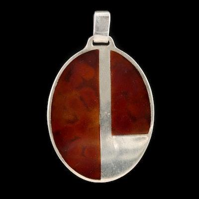 Modernist Sterling Silver Resin Pendant
