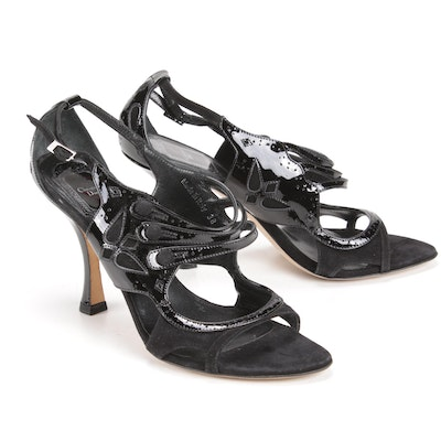 Christian Dior Black Patent Leather and Suede Open Toe Strappy Heels
