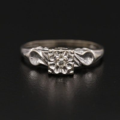 14K White Gold 0.03 CT Diamond Solitaire Ring