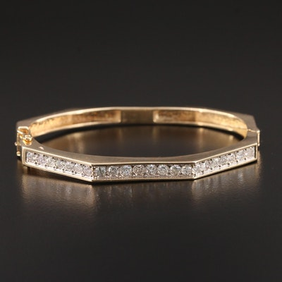 14K Yellow Gold 2.20 CTW Diamond Hinged Bracelet