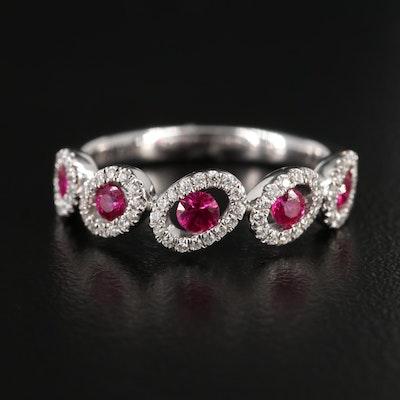 S. Kashi 14K White Gold Ruby and Diamond Ring