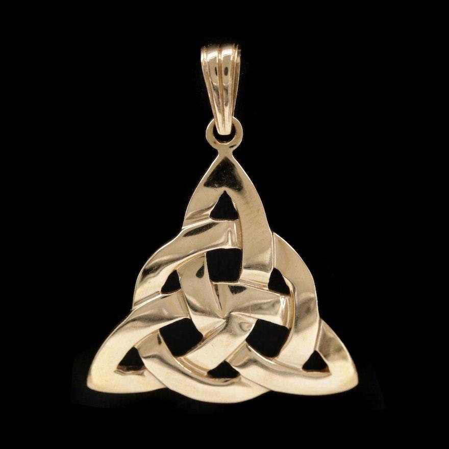 """14K Yellow Gold """"Triquetra"""" Celtic Knot Pendant"""