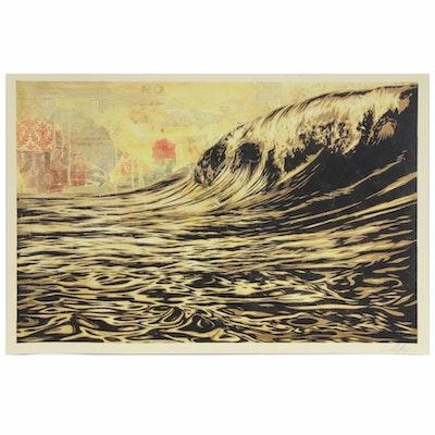 """Shepard Fairey Offset Poster """"Dark Wave,"""" 2020"""