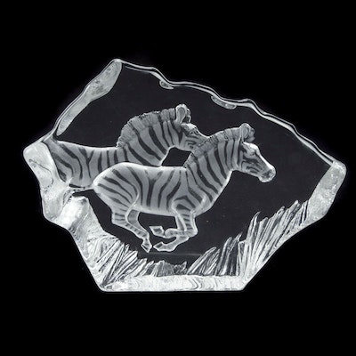 Mats Jonasson of Sweden Crystal Sculpture of Zebras, 1990s