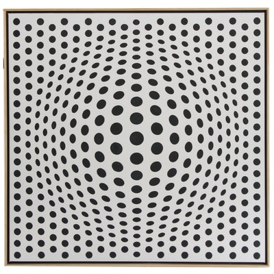 "deSanto Op Art Acrylic Painting ""Perfect Illusion II"""