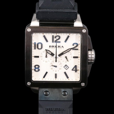 Brera Quattro Chronograph Stainless Steel and Black PVD Quartz Wristwatch
