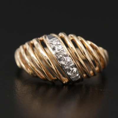 14K Gold Diamond Openwork Dome Ring