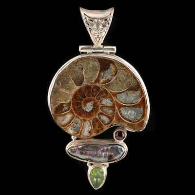Sterling Silver Pearl, Ammonite, and Peridot Pendant