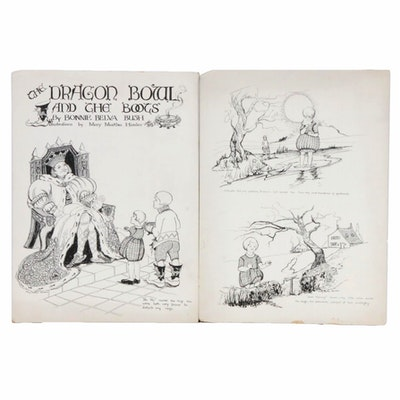"""Mary Martha Himler Ink Drawings for """"The Dragon Bowl and the Boots"""""""