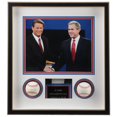 President George W. Bush and Al Gore Single Signed Baseballs Display COA