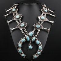 Sterling Silver Turquoise Squash Blossom Necklace