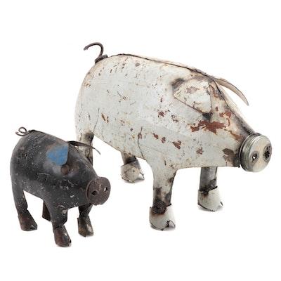 Mexican Folk Art Scrap Metal Pig and Piglet Sculptures