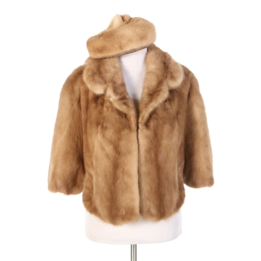 Mink Fur Capelet from Lowenthal's and Nikki Mink Fur Beret, Mid-20th Century