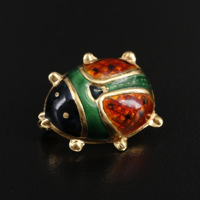 18K Yellow Gold Enamel Lady Bug Brooch