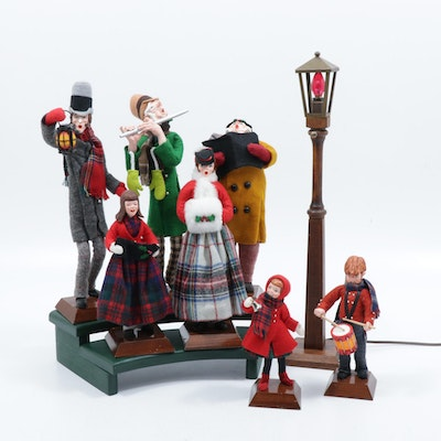 Handmade Simpich Caroling Character Dolls, Late 20th Century