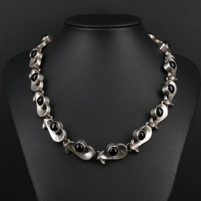 Mexican Sterling Silver Glass Necklace