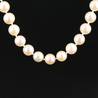 Knotted Pearl Necklace With 14K Yellow Gold Clasp