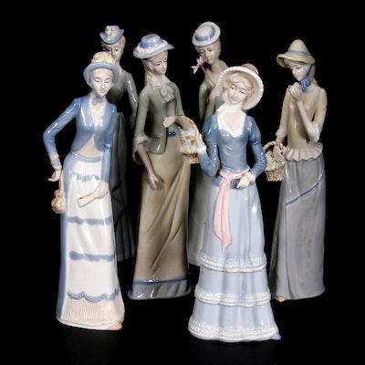 Lladró Style Porcelain Figurines of Females in 19th Century Period Dress