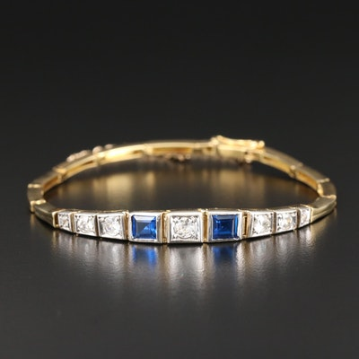14K Yellow Gold Synthetic Spinel and Diamond Bracelet