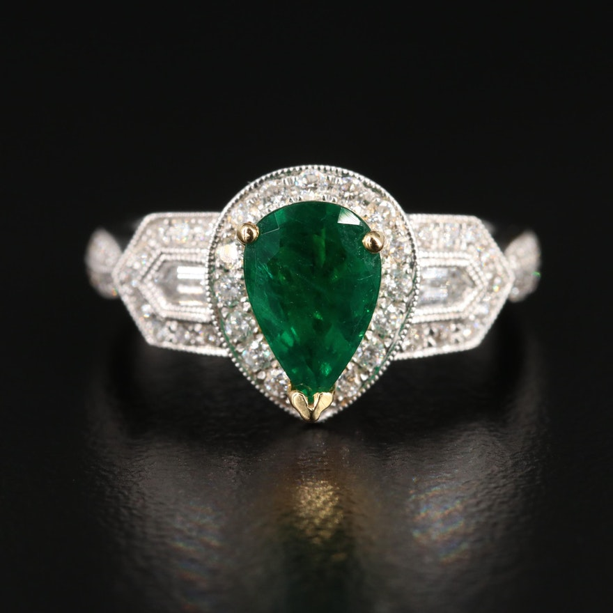 18K White and Yellow Gold 1.70 CT Emerald and Diamond Ring