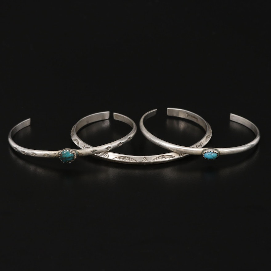Bell Trading Post Vintage Southwestern Sterling Cuff Bracelets with Turquoise