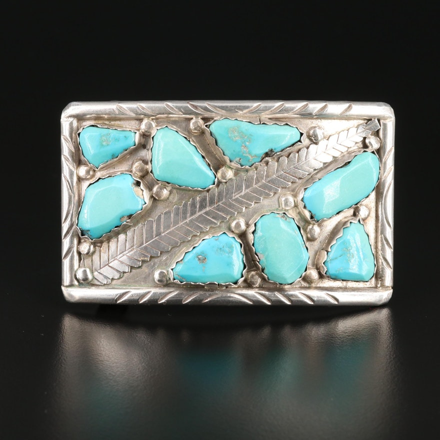 Signed Southwestern Style Sterling Silver Turquoise Belt Buckle