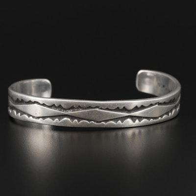 Nora Bill Navajo Diné Sterling Silver Cuff Bracelet