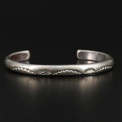 Edison Cummings Navajo Diné Sterling Silver Cuff Bracelet