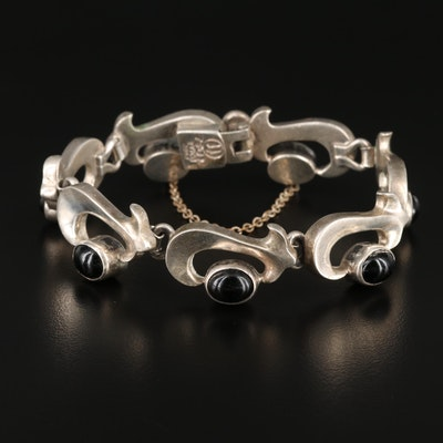 Mexican Sterling Silver Glass Bracelet