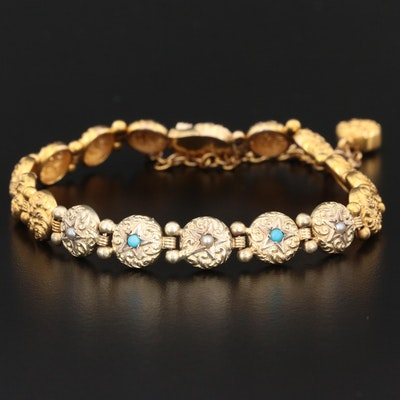 Victorian 14K Yellow Gold Seed Pearl and Turquoise Scrollwork Bracelet