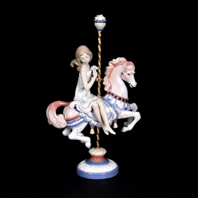 "Lladró ""Girl on Carousel Horse"" Porcelain Figurine Designed by José Puche"
