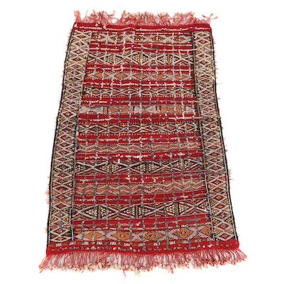 3'2 x 5'5 Handwoven Moroccan Style Soumak Wool Rug