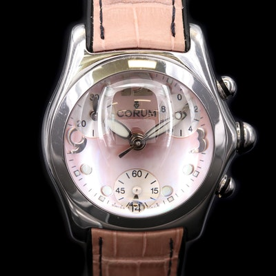 Corum Bubble Stainless Steel Chronograph Watch with Pink Mother of Pearl Dial