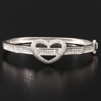 14K White Gold 2.50 CTW Diamond Heart Bracelet