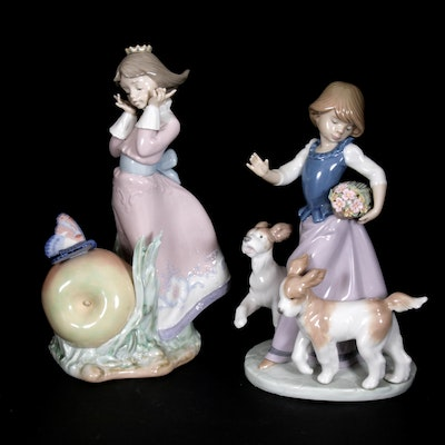 "Lladró ""Land of the Giants"" and ""Out for a Romp"" Porcelain Figurines"