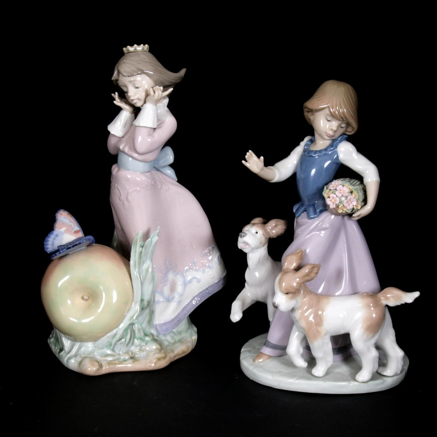 """Lladró """"Land of the Giants"""" and """"Out for a Romp"""" Porcelain Figurines"""