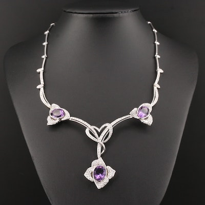 18K White Gold Amethyst and 2.35 CTW Diamond Necklace