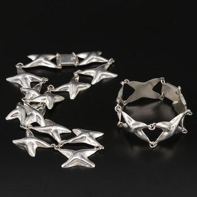 "Taxco Sterling Silver ""X"" Link Necklace and Bracelet Set"