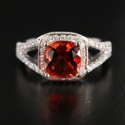 Hana 18K White Gold Labradorite and Diamond Ring