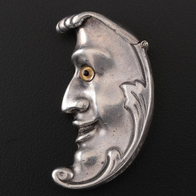 David A. Bowles Victorian Style Sterling Crescent Moon Match Safe, 1988