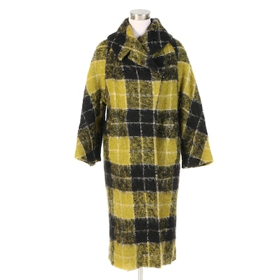 Stanley Nelson California Mohair Wool Blend Plaid Coat for Jenny, 1950s Vintage