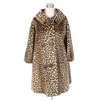 Faux Fur Leopard Print Swing Coat with Bracelet Sleeves, 1960s Vintage