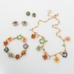 Joan Rivers Rhinestone and Floral Necklace, Bracelet and Earrings