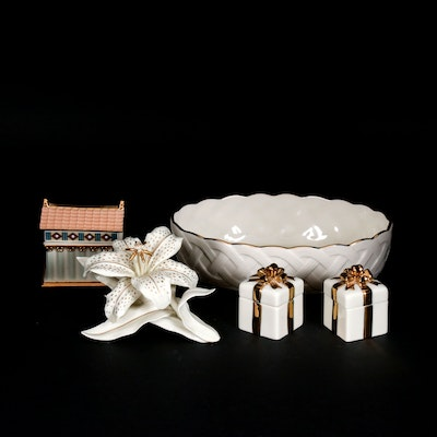 "Lenox ""Classic Lily"" Porcelain Figurine, Lidded Boxes and Table Accessories"