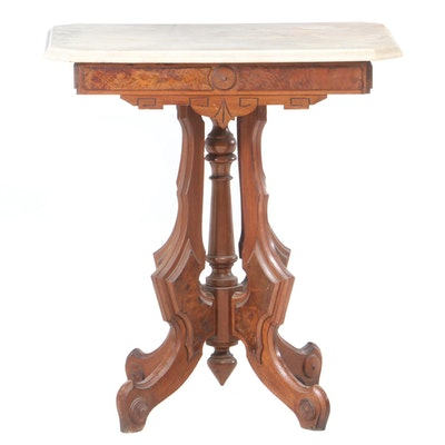 Victorian Marble and Walnut Table, Late 19th Century