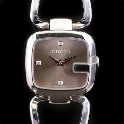 Diamond Gucci G Stainless Steel Quartz Wristwatch