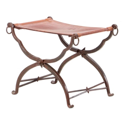 Antique Wrought Iron and Leather Curule Stool, 19th Century