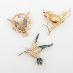 Joan Rivers Rhinestone and Enamel Bird Brooches