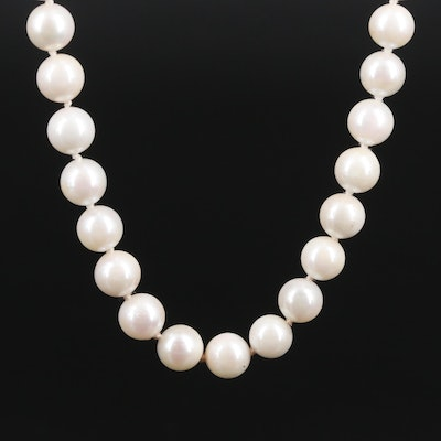 14K Yellow Gold Cultured Pearl Bead Necklace