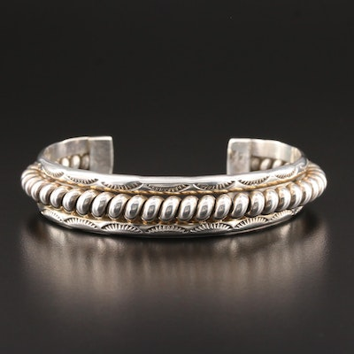 Southwestern Style Sterling Silver Coiled Wrap Cuff Bracelet